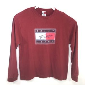 Tommy Hilfiger Long Sleeve Red Graphic T-Shirt XXL